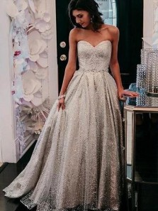 Beautiful Ball Gown Sweetheart Open Back Silver Sequins Long Prom Dresses,Girls Junior Graduation Gown,Formal Evening Party Dresses