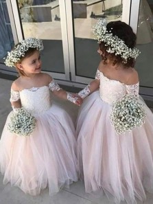 Cute A-Line Sheer Neck Long Sleeve Pink Tulle Flower Girl Dresses