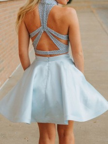 Two Piece A-Line Halter Sky Blue Satin Short Prom Homecoming Dresses with Beading and Pockets