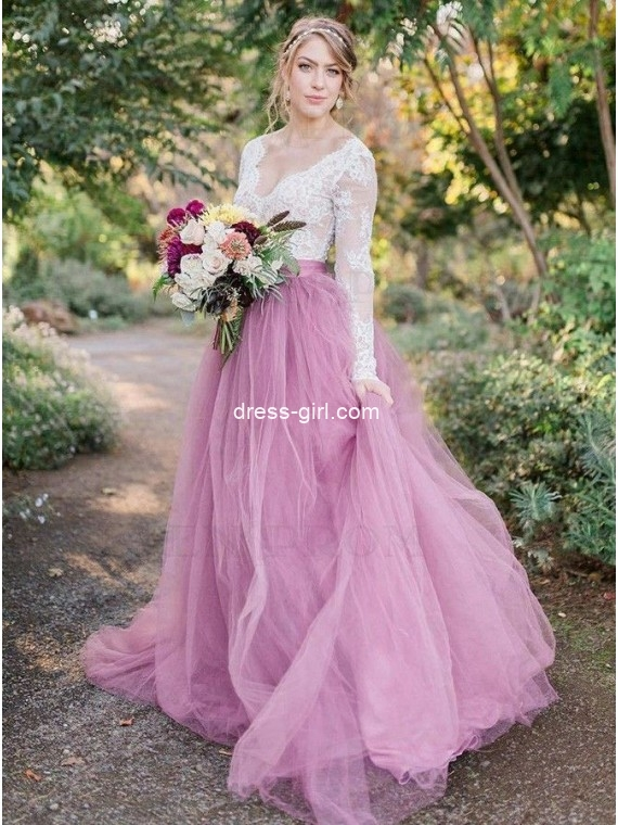 Princess A-Line White and Pink Long Sleeves Wedding Dresses with Lace Top